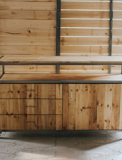 Mueble tv madera reciclada luanord for Muebles con madera reciclada