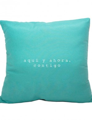 Funda cojín azul turquesa AQUÍ Y AHORA CONTIGO