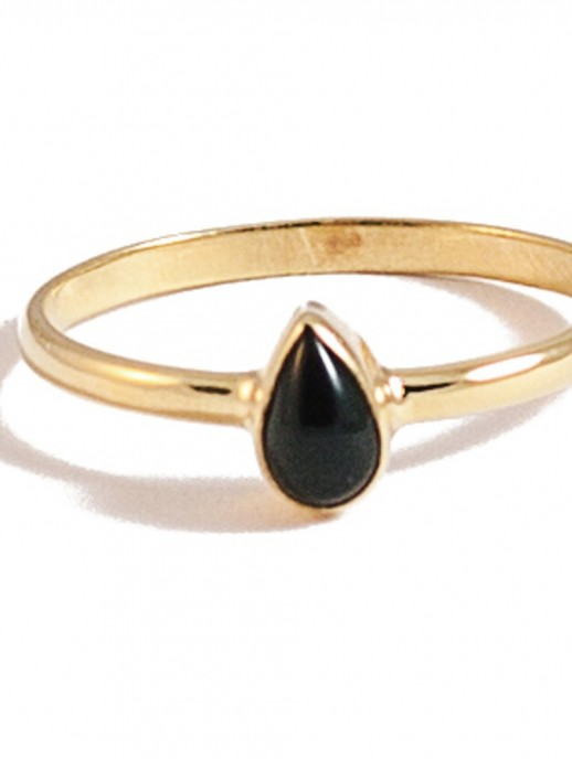 anillo gota negro